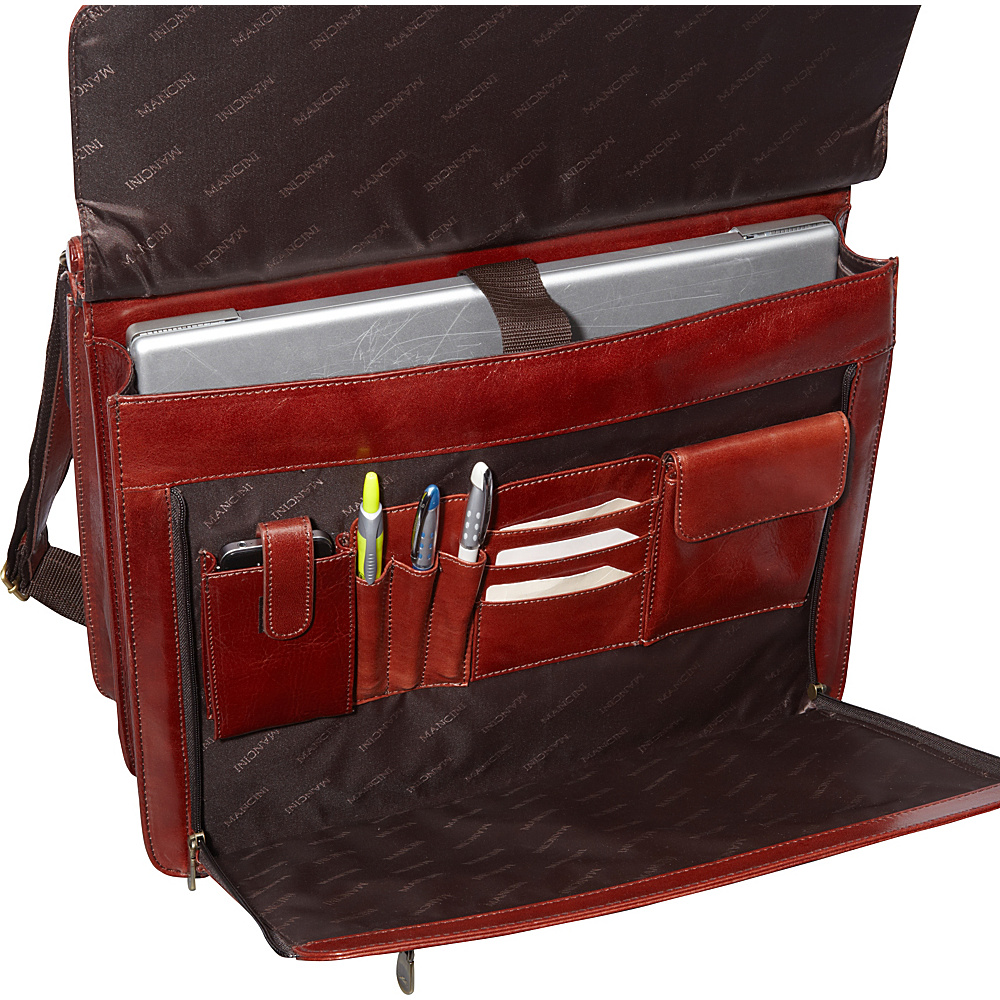 Mancini Leather Goods Luxurious Italian Leather Laptop Briefcase Brown - Mancini Leather Goods Non-Wheeled Business Cases