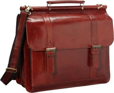 Mancini Leather Goods Luxurious Italian Leather Laptop Briefcase Brown - Mancini Leather Goods Non-Wheeled Business Cases
