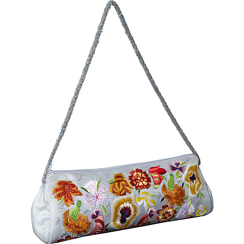 Moyna Handbags Purse w/ Silk Multi Flowers Light Blue/ Multi - Moyna Handbags Evening Bags