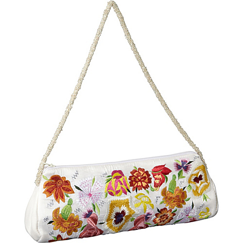 Moyna Handbags Purse w/ Silk Multi Flowers White/ Multi - Moyna Handbags Evening Bags
