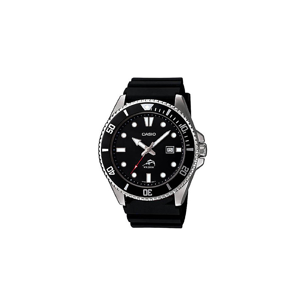 Casio Men's Black Analog Anti Reverse Bezel Watch Black - Casio Watches