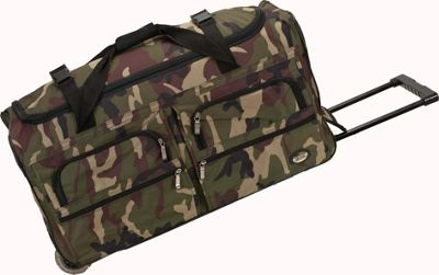 Rockland Luggage Voyage 3 36 inch Rolling Duffel Camouflage Green - Rockland Luggage Softside Checked