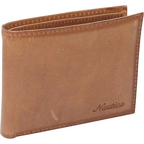 Nautica Mens Wallets Centerboard Passcase Wallet Tan - Nautica Mens Wallets Mens Wallets