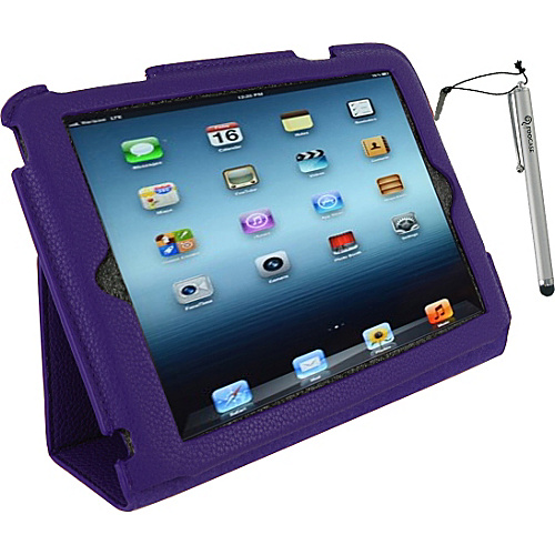 rooCASE Ultra Slim Vegan Leather Case w/ Stylus for iPad Mini Purple - rooCASE Laptop Sleeves