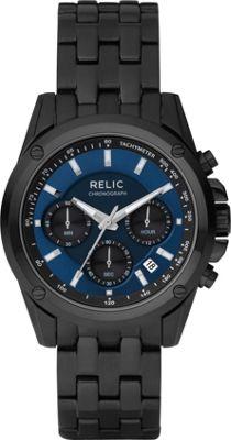 Relic Men's  inchGrant inch Black IP w/ Blue Chronograph Bracelet Black - Relic Watches