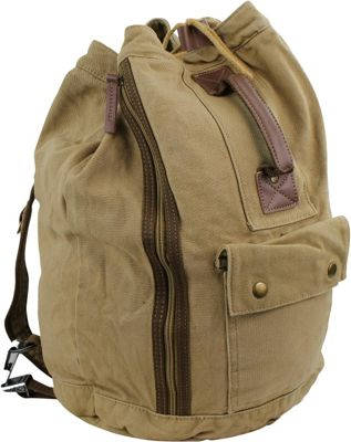 Vagabond Traveler Rock Round Style Canvas Backpack Khaki - Vagabond Traveler Everyday Backpacks