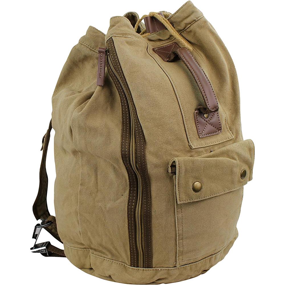 Vagabond Traveler Rock Round Style Canvas Backpack Khaki - Vagabond Traveler Everyday Backpacks - Backpacks, Everyday Backpacks