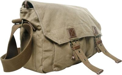 Vagabond Traveler Washed Canvas Messenger Bag Khaki - Vagabond Traveler Messenger Bags