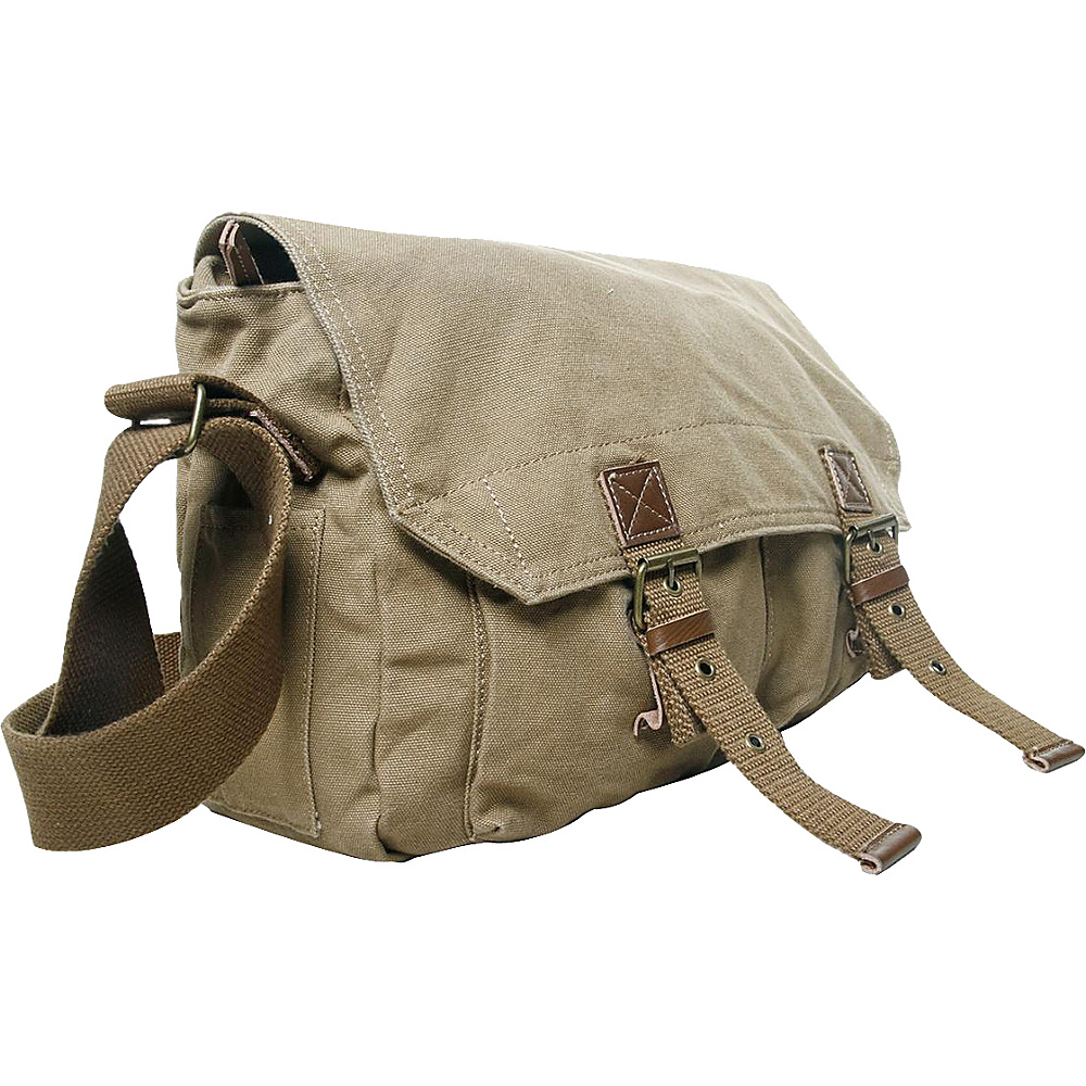 Vagabond Traveler Washed Canvas Messenger Bag Khaki - Vagabond Traveler Messenger Bags - Work Bags & Briefcases, Messenger Bags