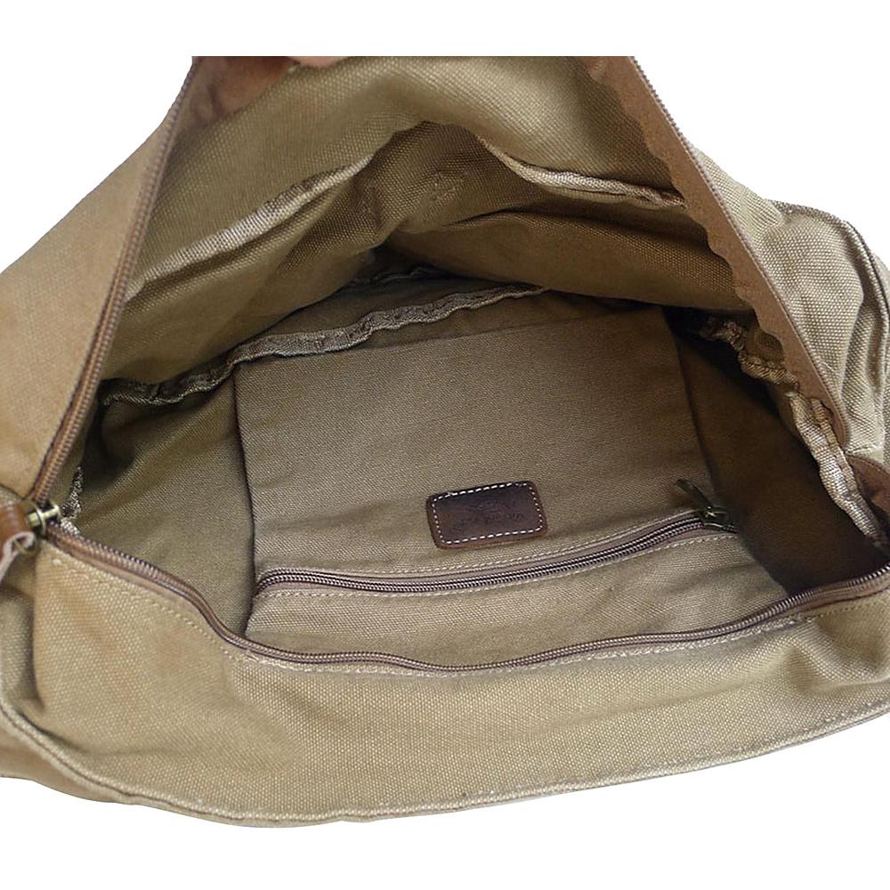 Vagabond Traveler Washed Canvas Messenger Bag Military Green - Vagabond Traveler Messenger Bags