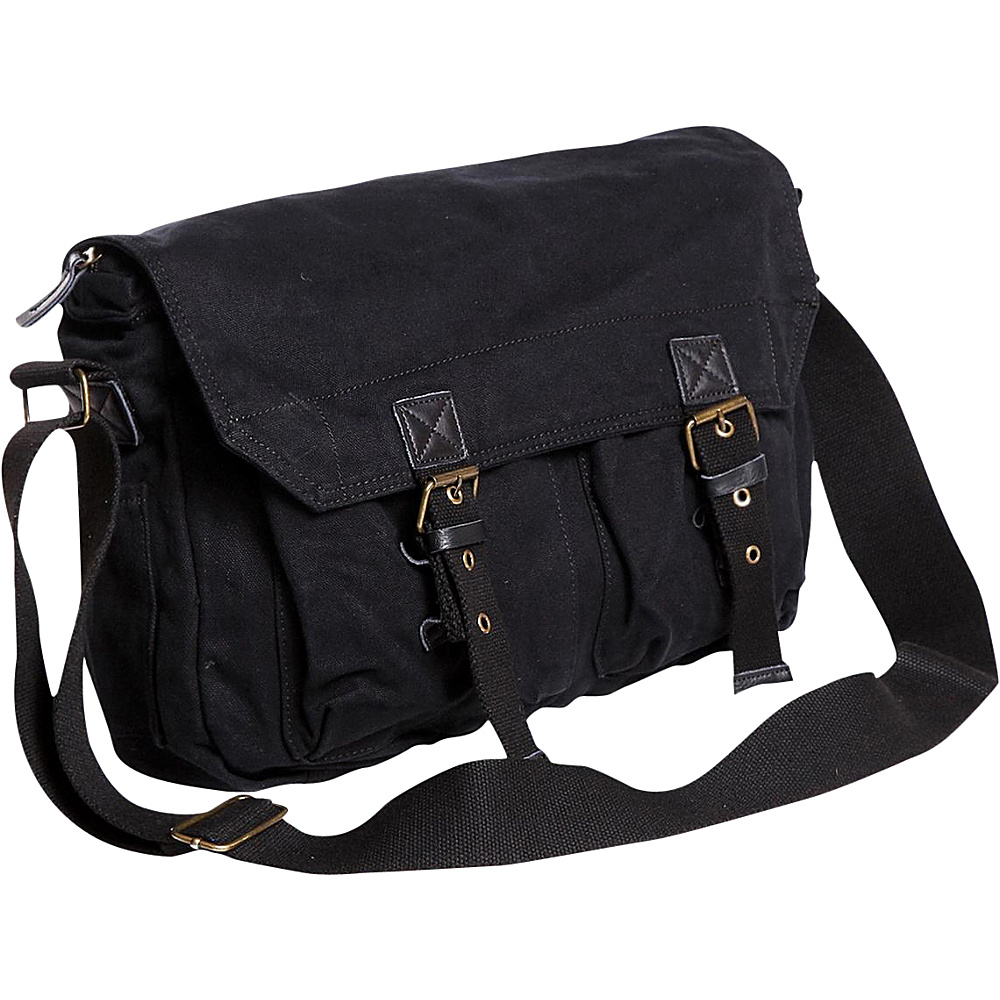 Vagabond Traveler Washed Canvas Messenger Bag Black - Vagabond Traveler Messenger Bags - Work Bags & Briefcases, Messenger Bags