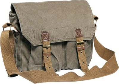 Vagabond Traveler Washed Canvas Messenger Bag Military Green - Vagabond Traveler Messenger Bags