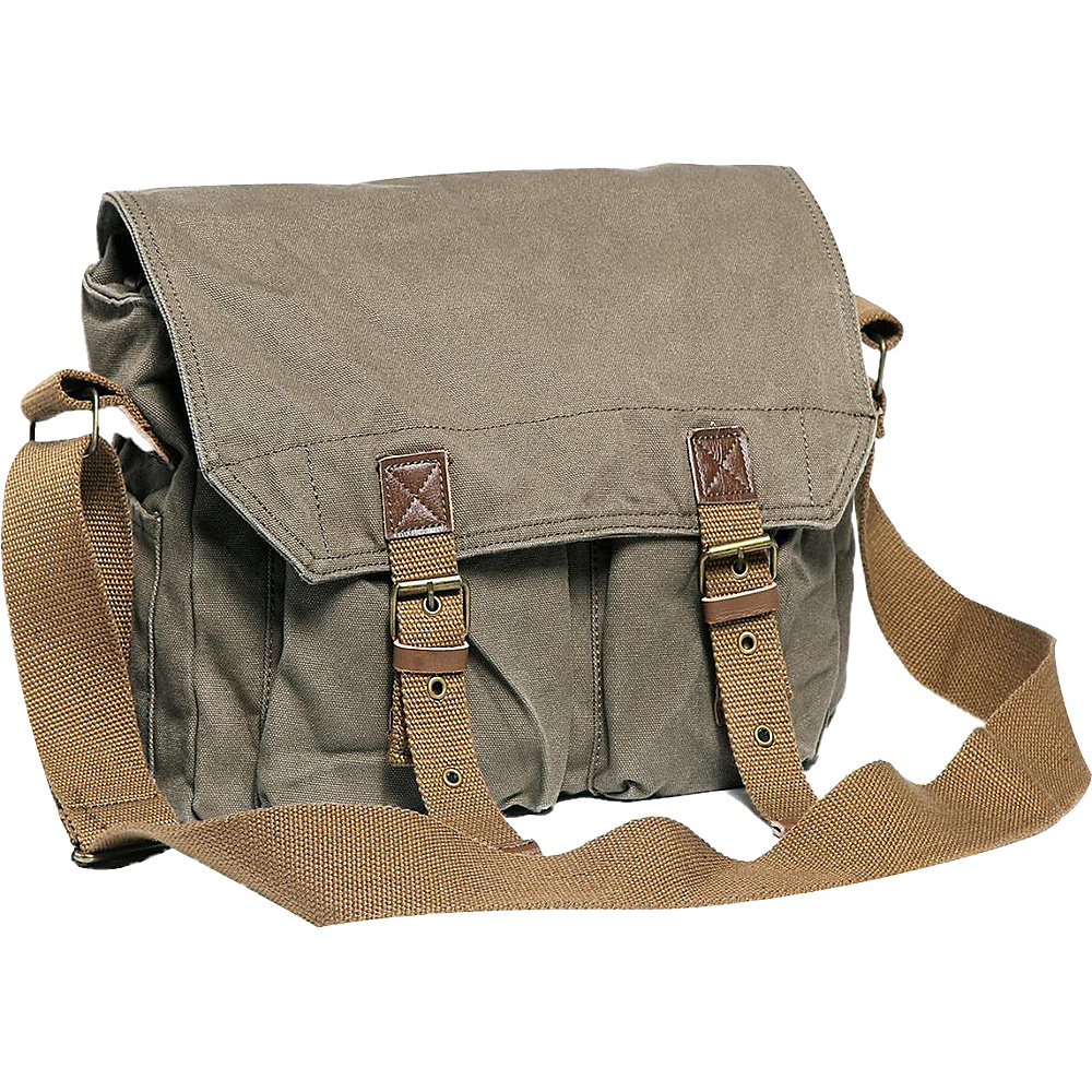 Vagabond Traveler Washed Canvas Messenger Bag Military Green - Vagabond Traveler Messenger Bags - Work Bags & Briefcases, Messenger Bags