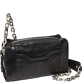Slide Over Top Zip Shoulder Bag Black