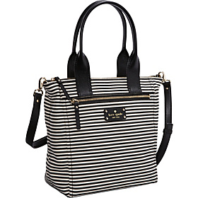Cobble Hill Fabric Courtnee Zip Top Tote Black/Natural