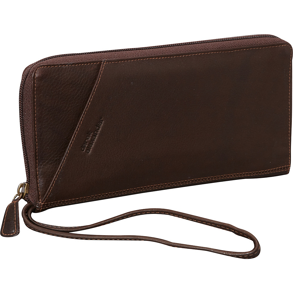 Derek Alexander Multi Compartment Travel Wallet Brown - Derek Alexander Travel Wallets