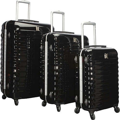 IT Luggage Shiny Vigo 4 Wheeled Framed 3 Piece Luggage Set Black - IT Luggage Luggage Sets