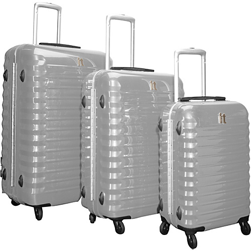 IT Luggage Shiny Vigo 4 Wheeled Framed 3 Piece Luggage Set Light Grey - IT Luggage Luggage Sets