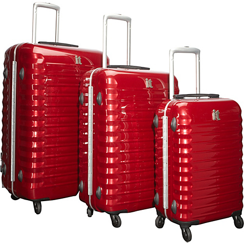 IT Luggage Shiny Vigo 4 Wheeled Framed 3 Piece Luggage Set Red - IT Luggage Luggage Sets
