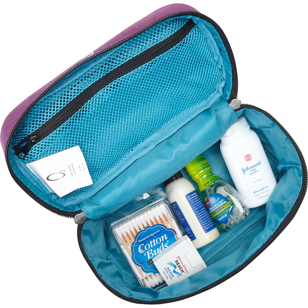 Obersee Kids Toiletry and Accessory Train Case Bag - Turquoise Butterfly Turquoise Butterfly - Obersee Toiletry Kits