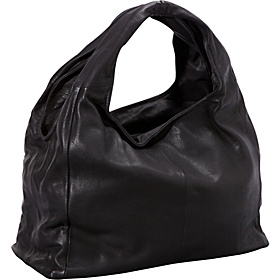 Large Leather Hobo BLACK