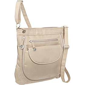 Large Zip Top Shoulder Bag Tan