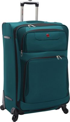 SwissGear Travel Gear Expandable Spinner Luggage - 28 inch Teal with Black - SwissGear Travel Gear Softside Checked
