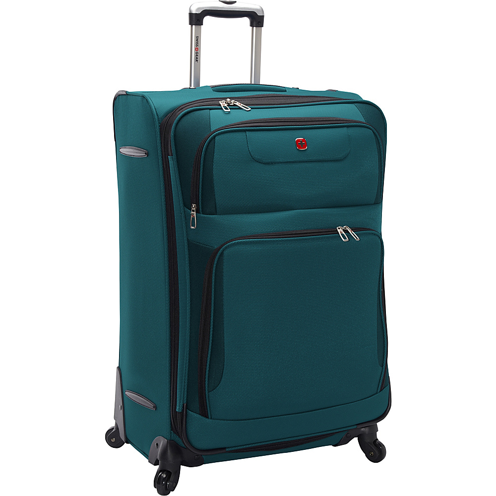 "SwissGear Travel Gear Expandable Spinner Luggage - 28"" Teal with Black - SwissGear Travel Gear Softside Checked"