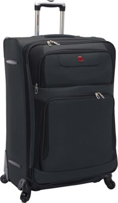 SwissGear Travel Gear Expandable Spinner Luggage - 28 inch Grey with Black - SwissGear Travel Gear Softside Checked