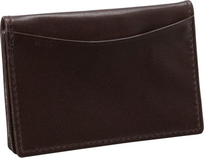 Budd Leather Nappa Soft Leather Business Card Case Brown - Budd Leather Business Accessories