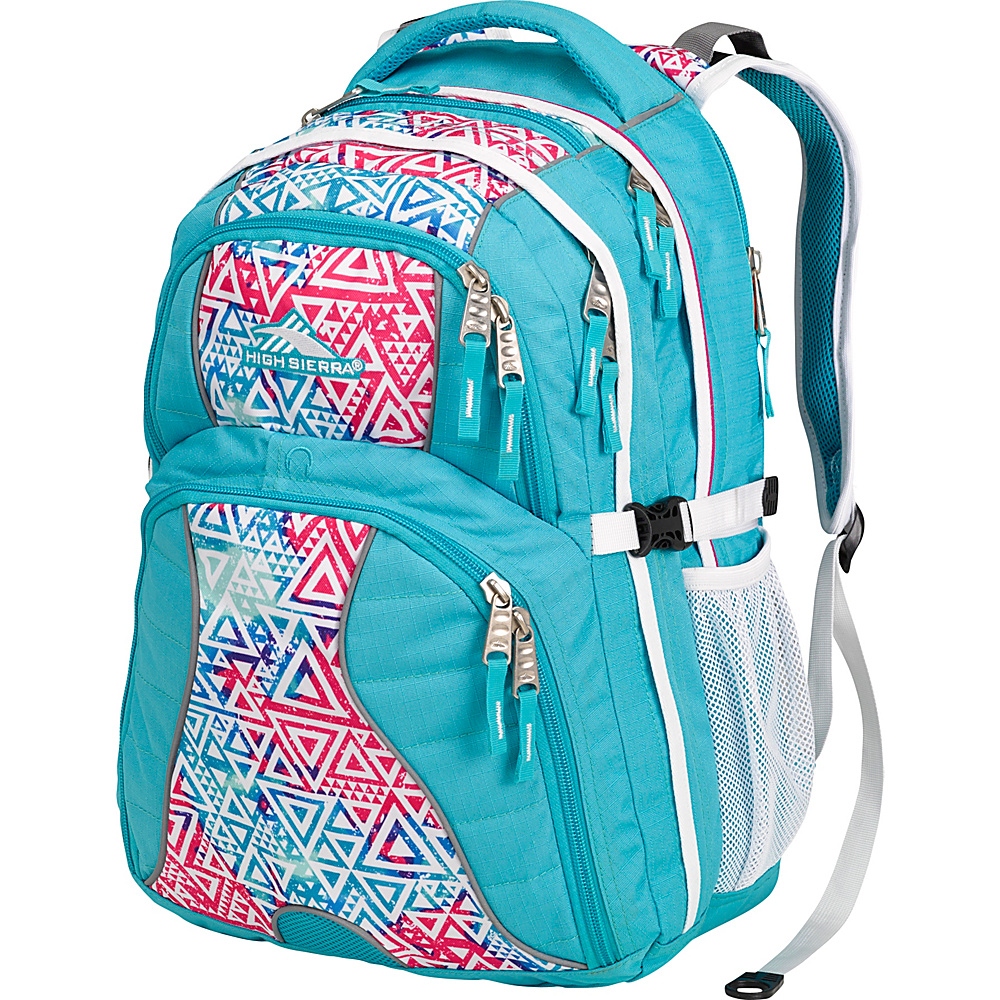 High Sierra Swerve Laptop Backpack- Women's Tropic Teal/Galaxy Tribe/White - High Sierra Laptop Backpacks
