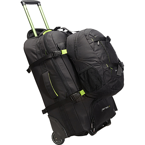 Caribee Fast Track 75 Wheeled Travel Pack Black - Caribee Large Rolling Luggage