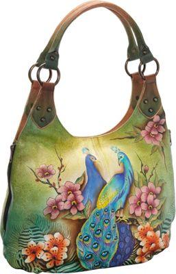 Anuschka Large Shoulder Hobo Passionate Peacocks - Anuschka Leather Handbags