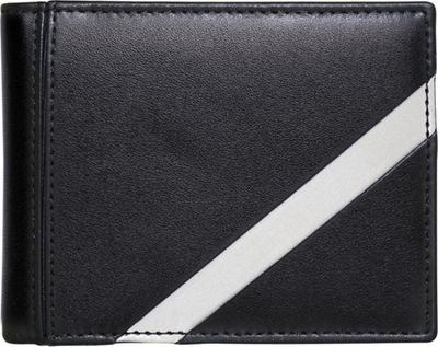 Stewart Stand Leather Tech Bill Fold Stainless Steel Wallet - RFID Black / Silver - Stewart Stand Men's Wallets