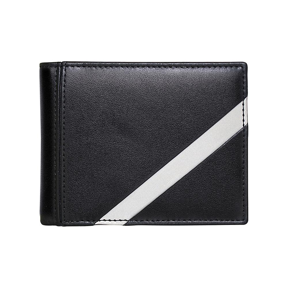 Stewart Stand Leather Tech Bill Fold Stainless Steel Wallet RFID Black Silver Stewart Stand Men s Wallets