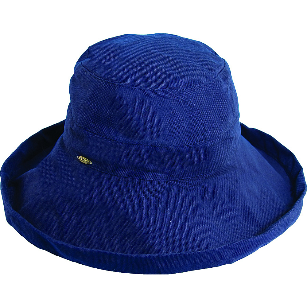 Scala Hats Cotton Big Brim w Drawstring Navy Scala Hats Hats Gloves Scarves