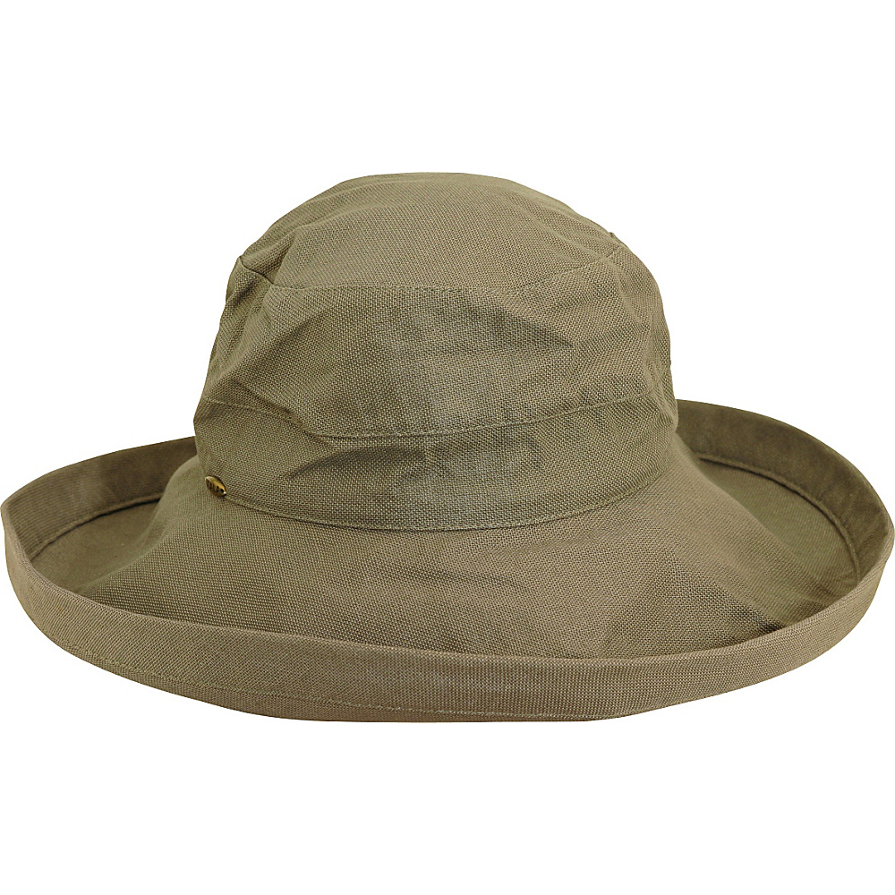 Scala Hats Cotton Big Brim w Drawstring Olive Scala Hats Hats Gloves Scarves