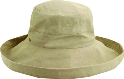 Scala Hats Cotton Big Brim w/ Drawstring One Size - Taupe - Scala Hats Hats/Gloves/Scarves