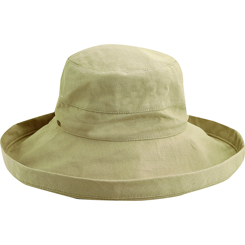 Scala Hats Cotton Big Brim w Drawstring Taupe Scala Hats Hats Gloves Scarves