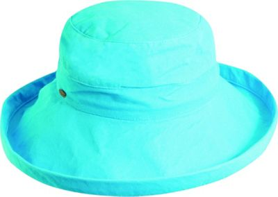 Scala Hats Cotton Big Brim w/ Drawstring One Size - Turquoise - Scala Hats Hats/Gloves/Scarves
