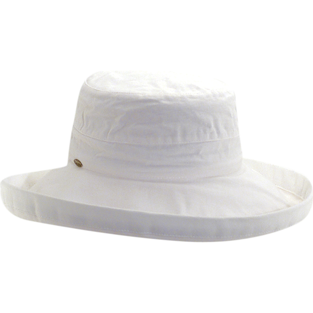 Scala Hats Cotton Big Brim w Drawstring White Scala Hats Hats Gloves Scarves
