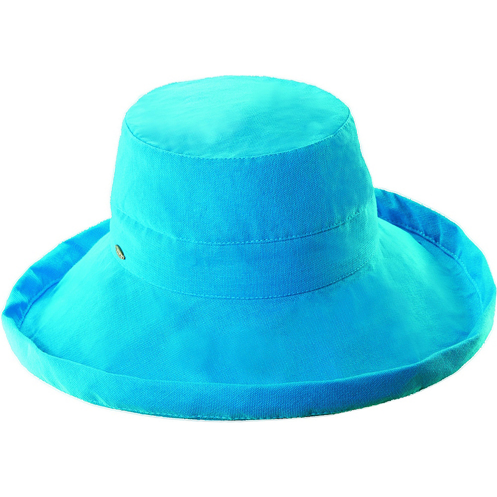 Scala Hats Cotton Big Brim w Drawstring Azure Scala Hats Hats Gloves Scarves