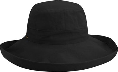 Scala Hats Scala Hats Cotton Big Brim w/ Drawstring One Size - Black - Scala Hats Hats/Gloves/Scarves