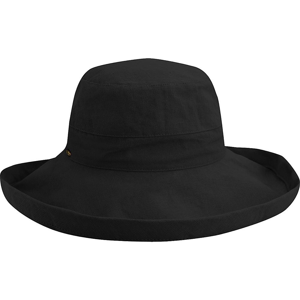 Scala Hats Cotton Big Brim w Drawstring Black Scala Hats Hats Gloves Scarves