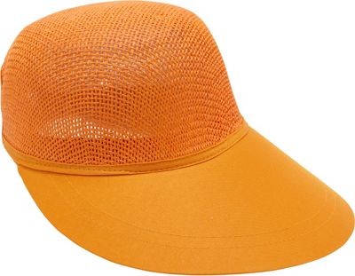 Magid Paper Straw Woven Visor One Size - Orange - Magid Hats/Gloves/Scarves
