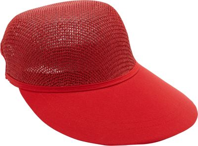 Magid Paper Straw Woven Visor One Size - Red - Magid Hats/Gloves/Scarves