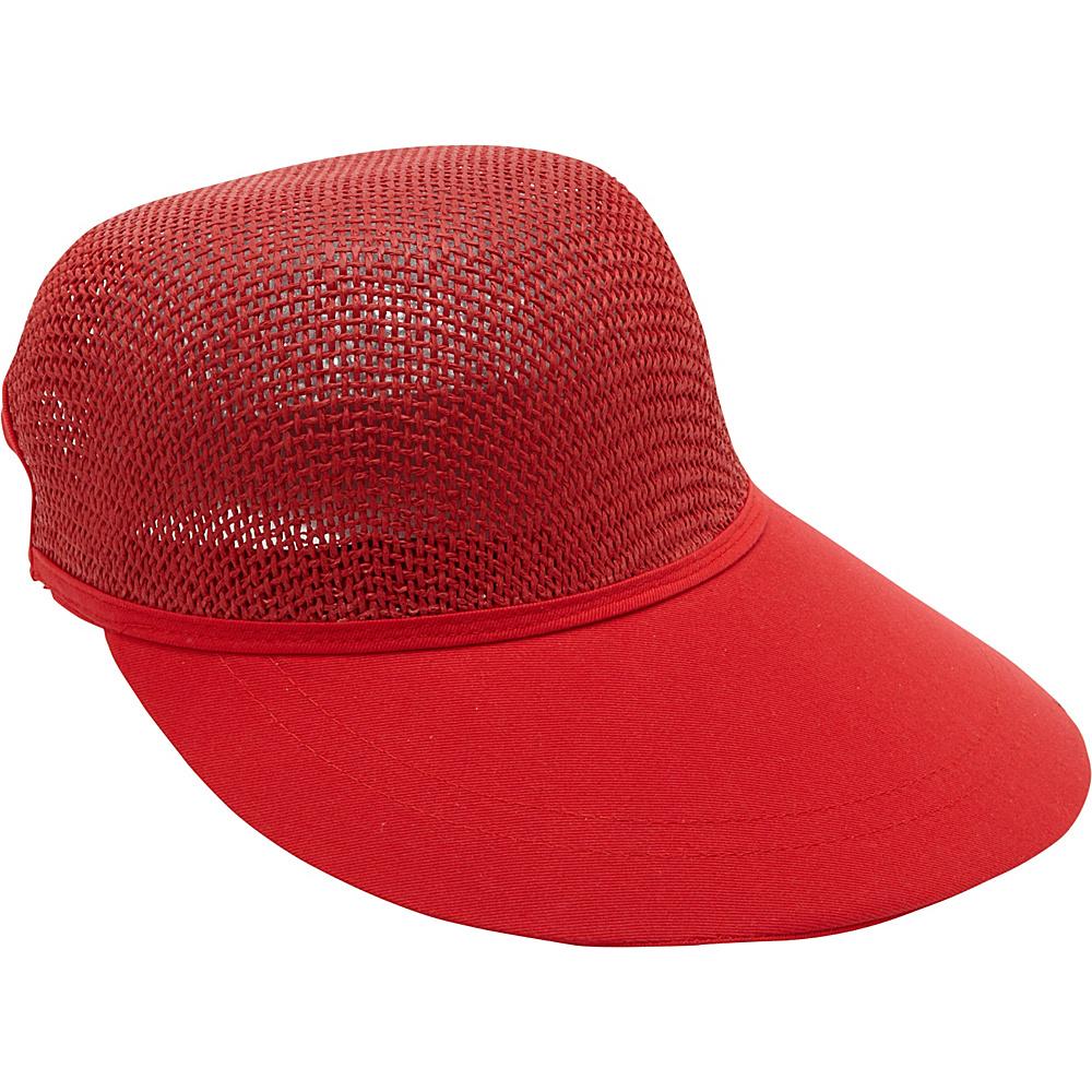 Magid Paper Straw Woven Visor Red Magid Hats Gloves Scarves