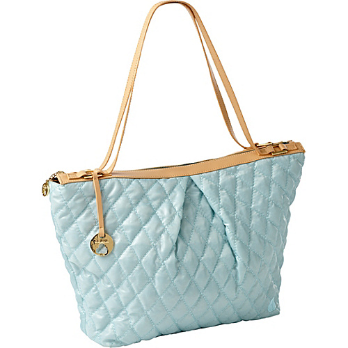 Clava Three Quilted Everyday Tote Blue Quilted Nylon - Clava Fabric Handbags