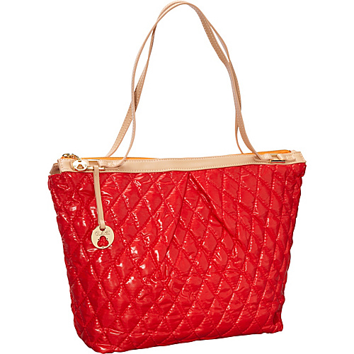 Clava Three Quilted Everyday Tote Red Quilted Nylon - Clava Fabric Handbags