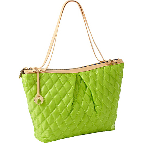 Clava Three Quilted Everyday Tote Green Quilted Nylon - Clava Fabric Handbags